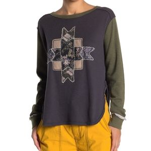 Free People Lone Star Patchwork Thermal Top